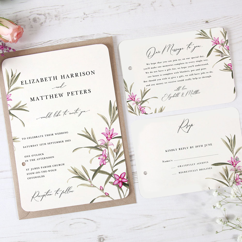 'Pink Botanical' Hole-punched Invite Sample