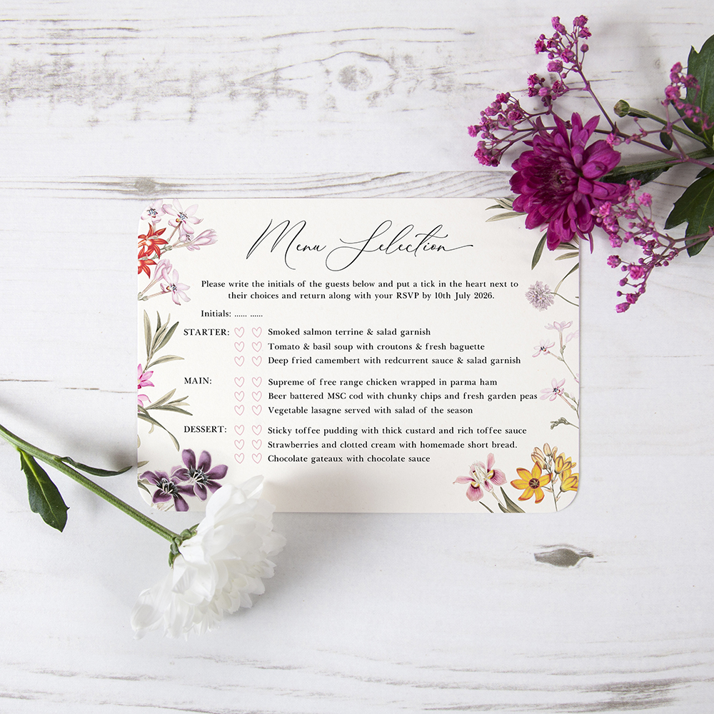 'Wild Botanical' Hole-punched Invite Sample