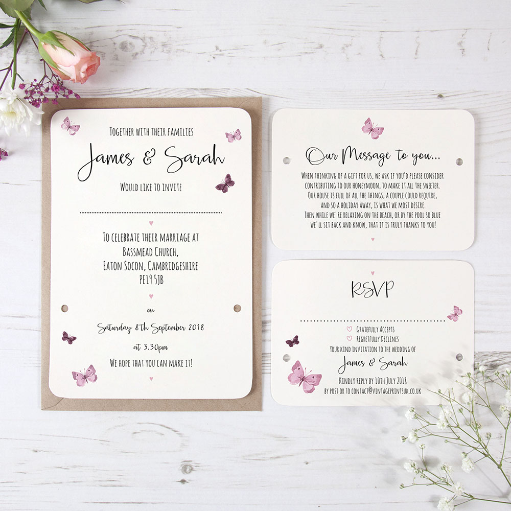 'Butterfly' Hole-punched Invite Sample