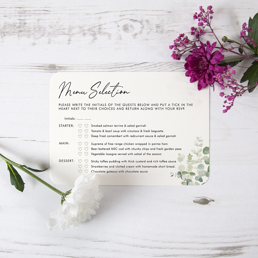 'Classic Eucalyptus' Hole-punched Invite
