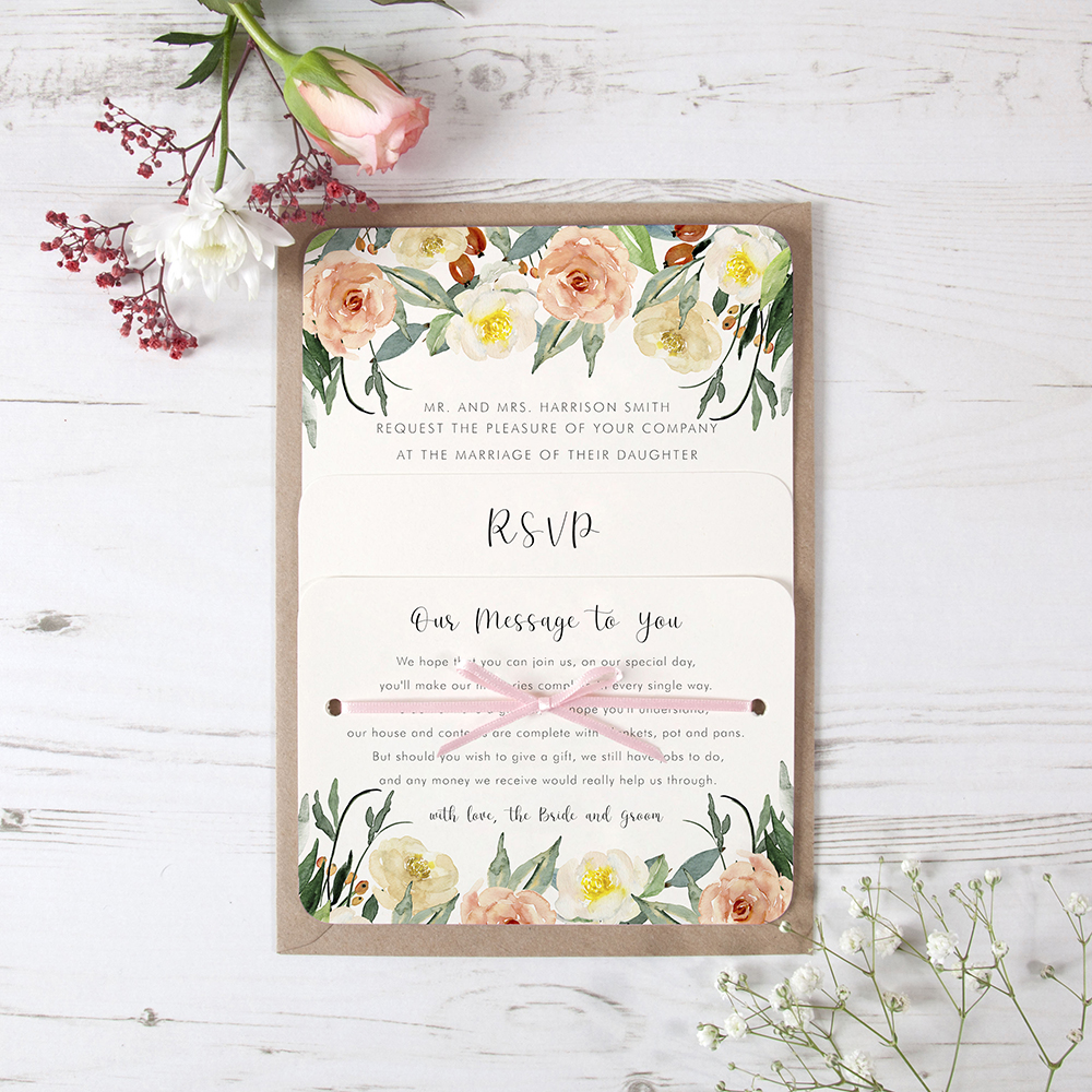 'Dahlia Rose' Hole-punched Invite