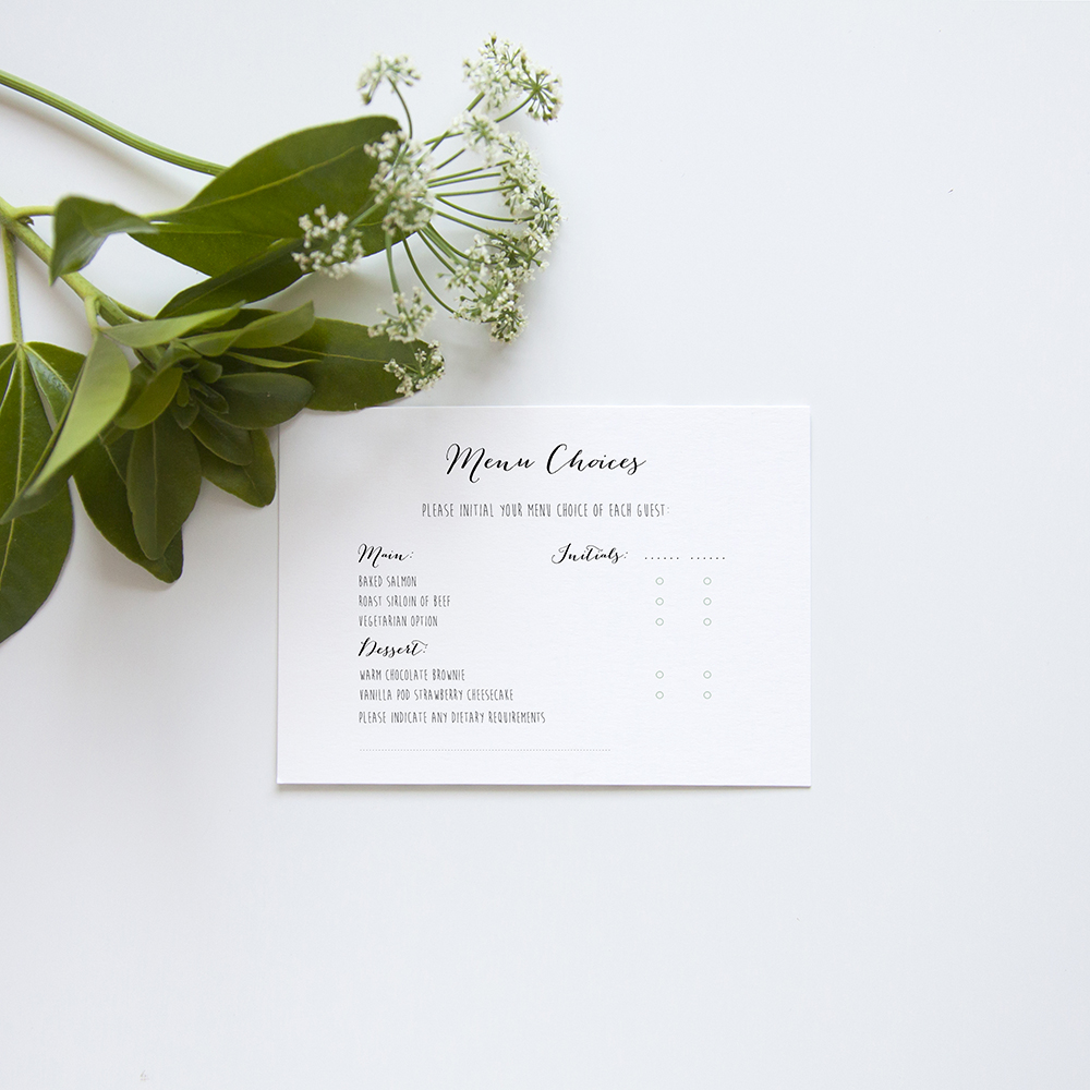 'Eucalyptus' Hole-punched Invite