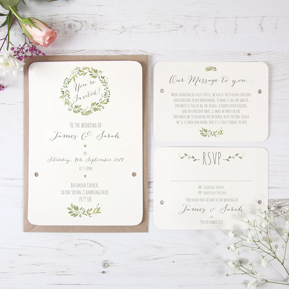 'Green Floral Watercolour' Hole-punched Invite