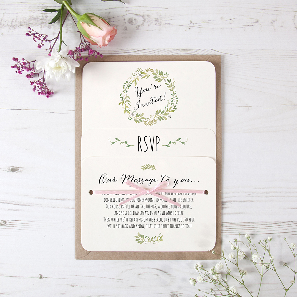 'Green Floral Watercolour' Hole-punched Invite Sample