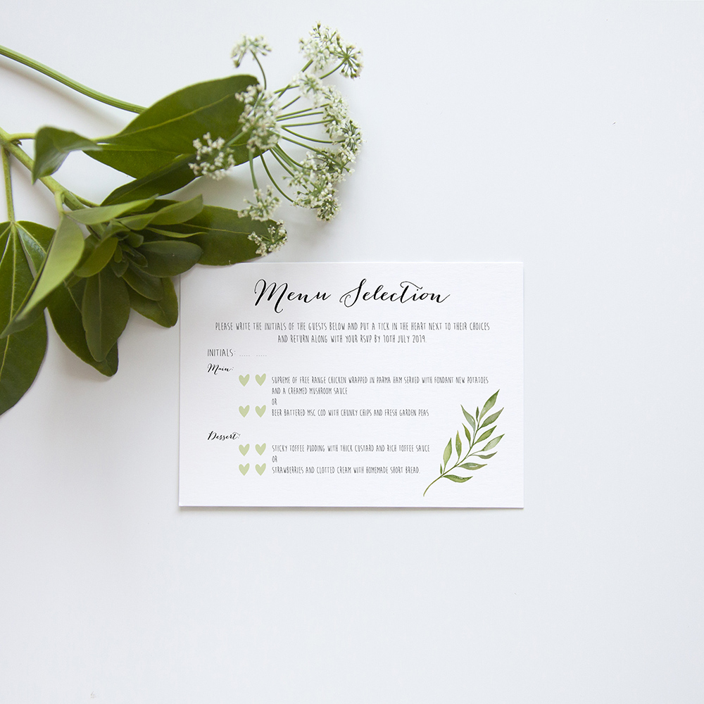 'Green Leaf' Hole-punched Invite