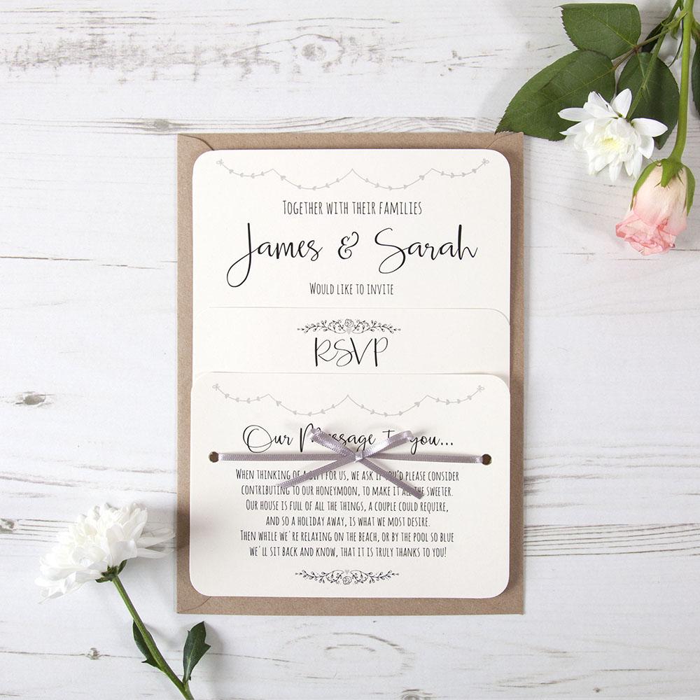 'Grey Heart Bunting' Hole-punched Invite Sample