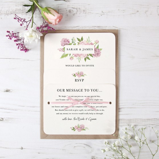 'Hydrangea' Hole-punched Invite