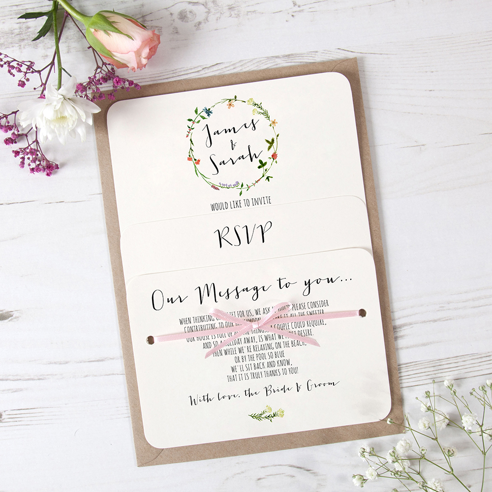 'Meadow Floral' Hole-punched Invite Sample
