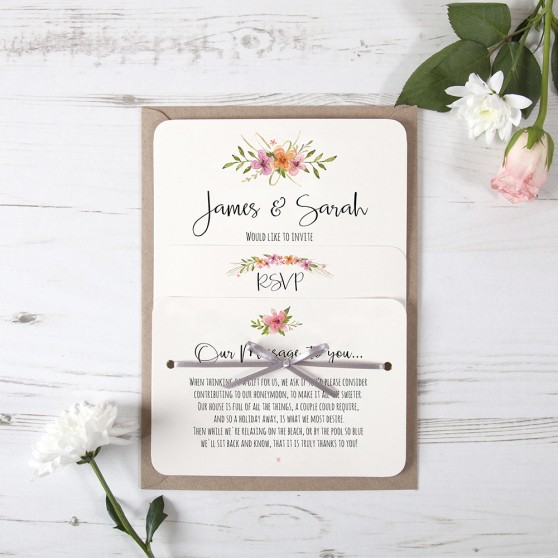 'Multi Floral Watercolour' Hole-punched Invite