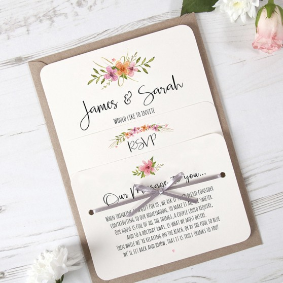 'Multi Floral Watercolour' Hole-punched Invite Sample