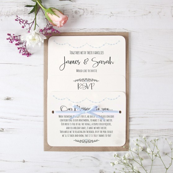 'Pale Blue Heart Bunting' Hole-punched Invite