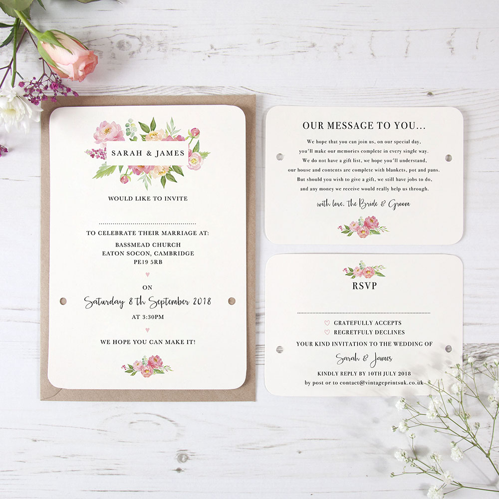 'Peony' Hole-punched Invite