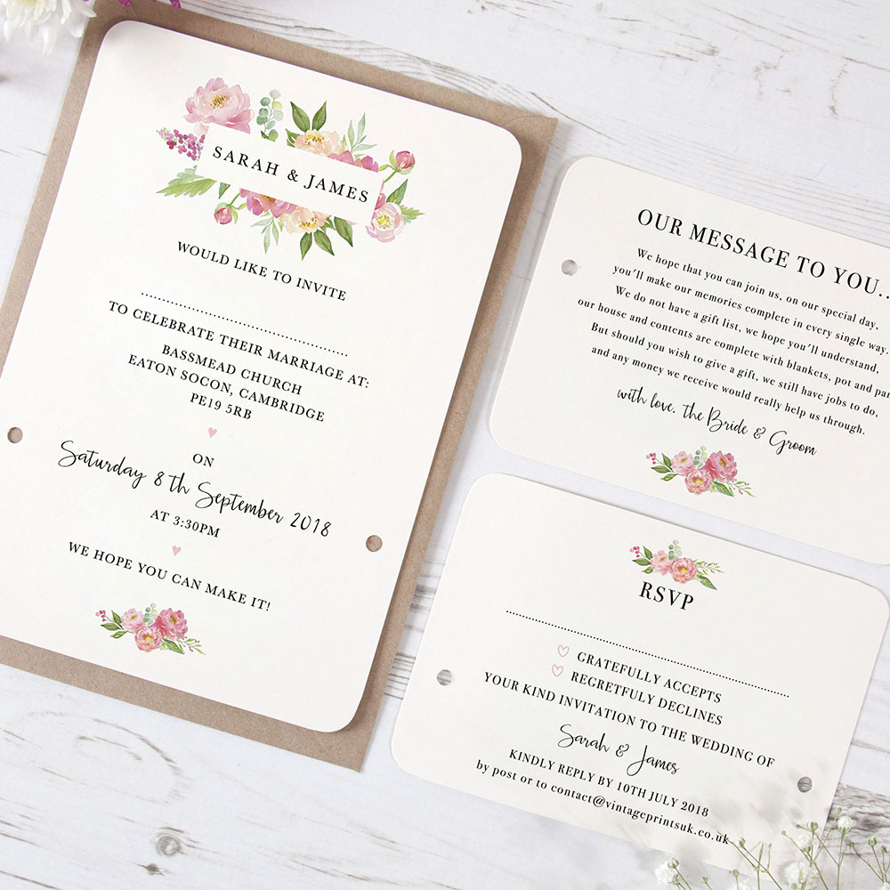 'Peony' Hole-punched Invite Sample