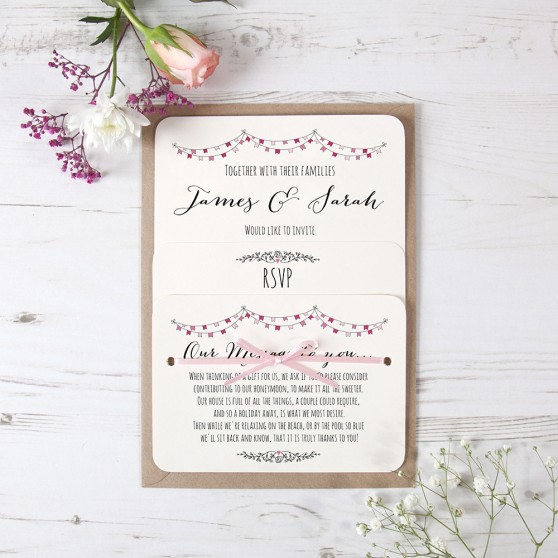 'Pink Flag Bunting' Hole-punched Invite