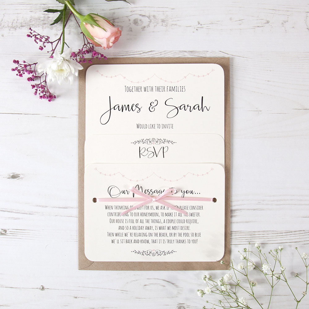 'Pink Heart Bunting' Hole-punched Invite Sample