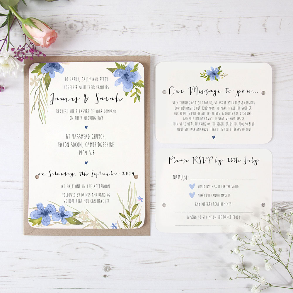 'Pretty in Blue' Hole-punched Invite