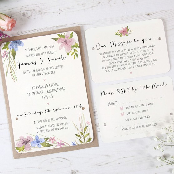 'Pretty in Blue & Pink' Hole-punched Invite