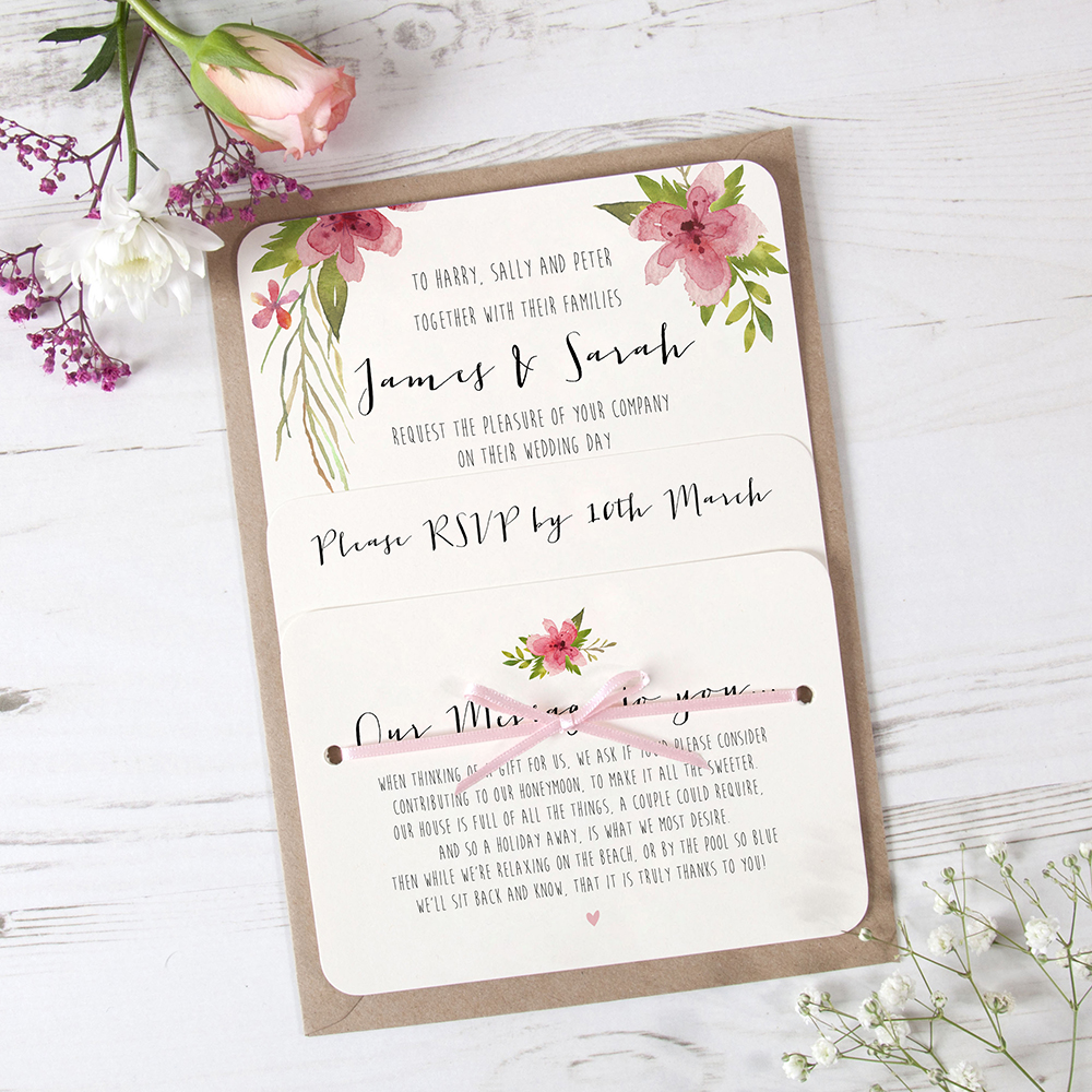 'Pretty in Pink' Hole-punched Invite