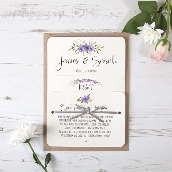 'Purple Multi Floral Watercolour' Hole-punched Invite