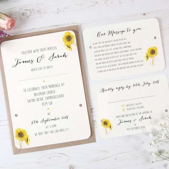 'Sunflower' Hole-punched Invite Sample