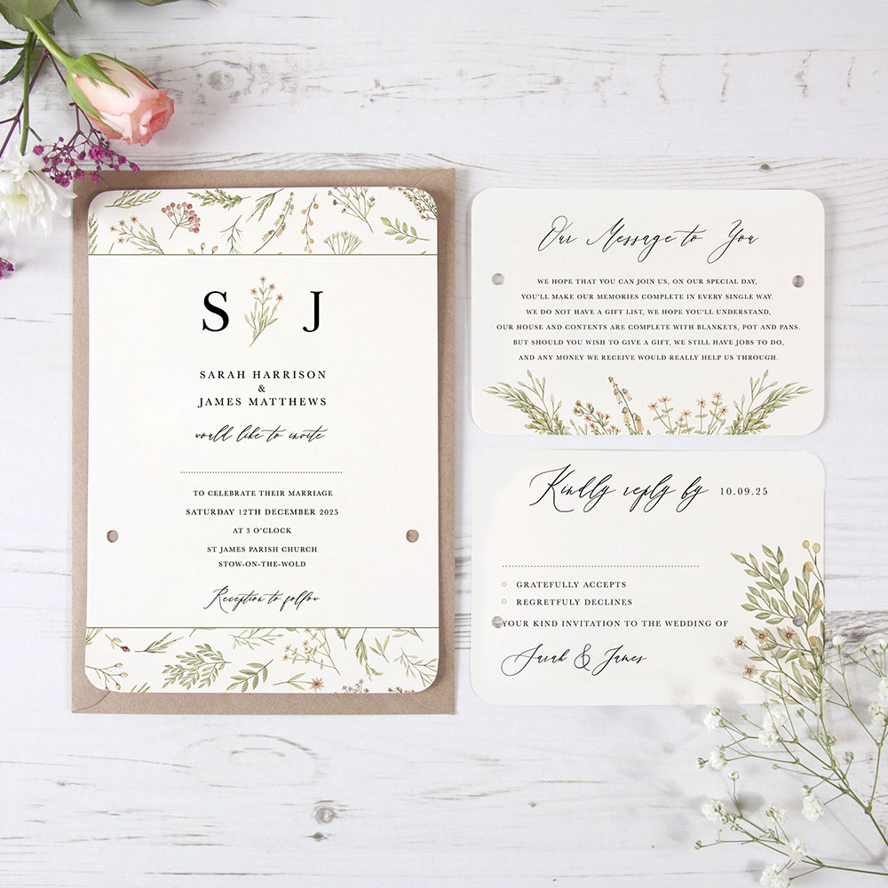 'Woodland Floral' Hole-punched Invite Sample