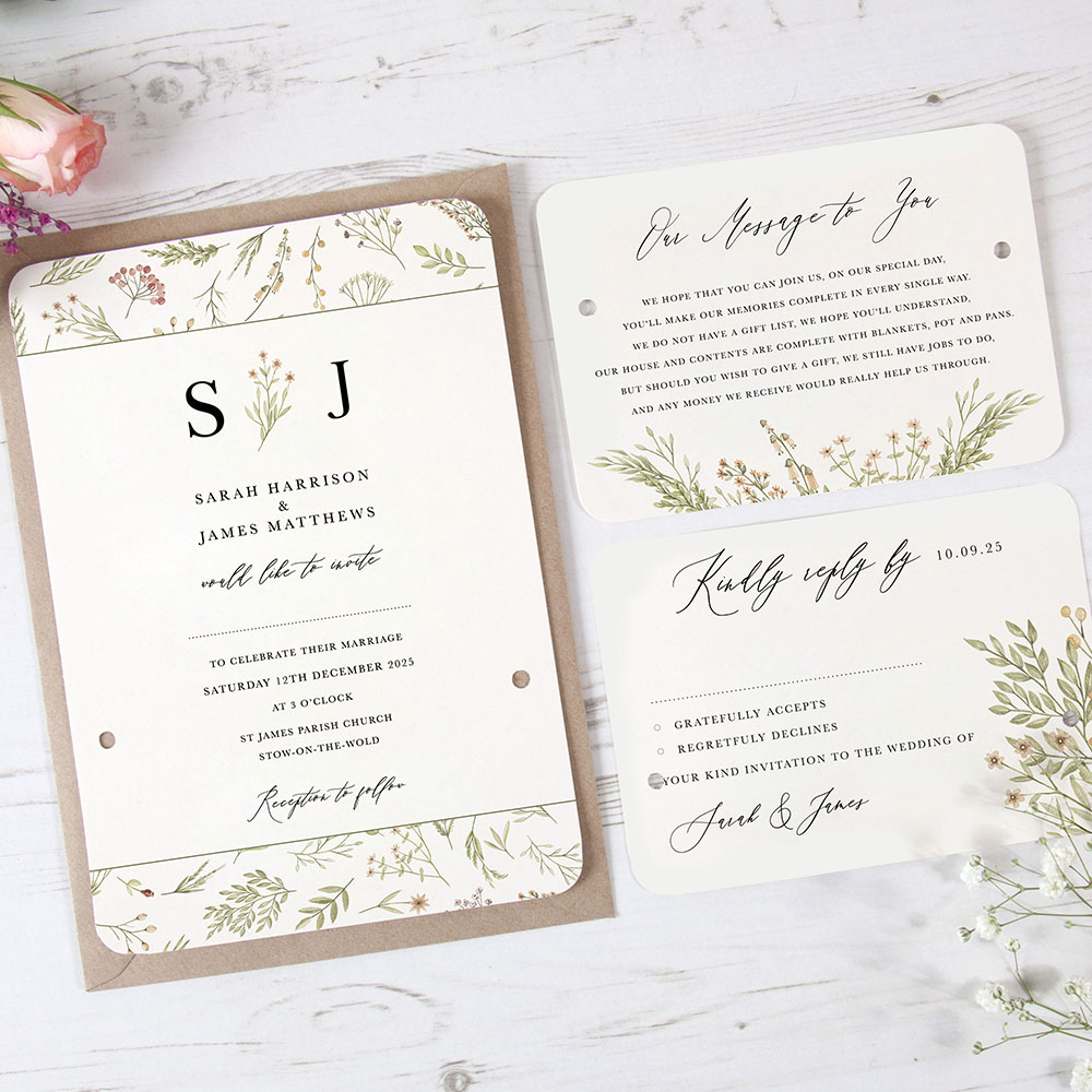 'Woodland Floral' Hole-punched Invite