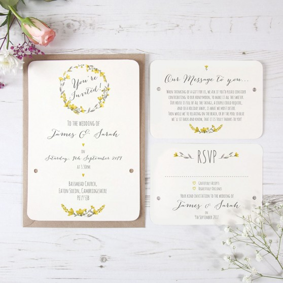 'Yellow Floral Watercolour' Hole-punched Invite Sample