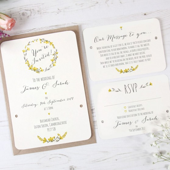 'Yellow Floral Watercolour' Hole-punched Invite