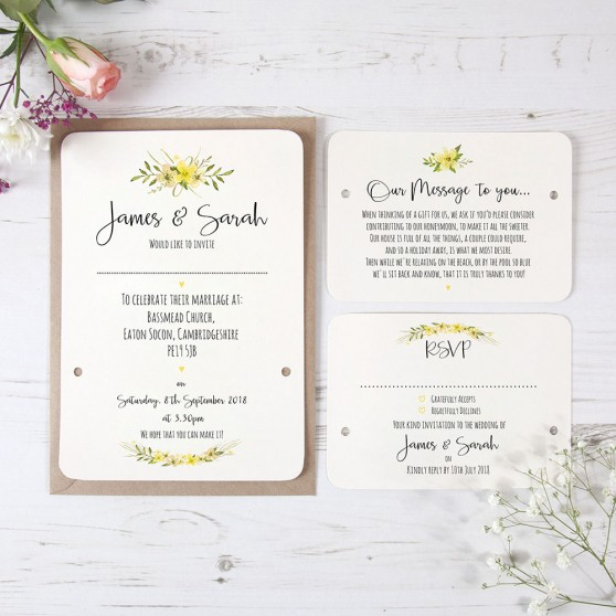 'Yellow Multi Floral Watercolour' Hole-punched Invite Sample