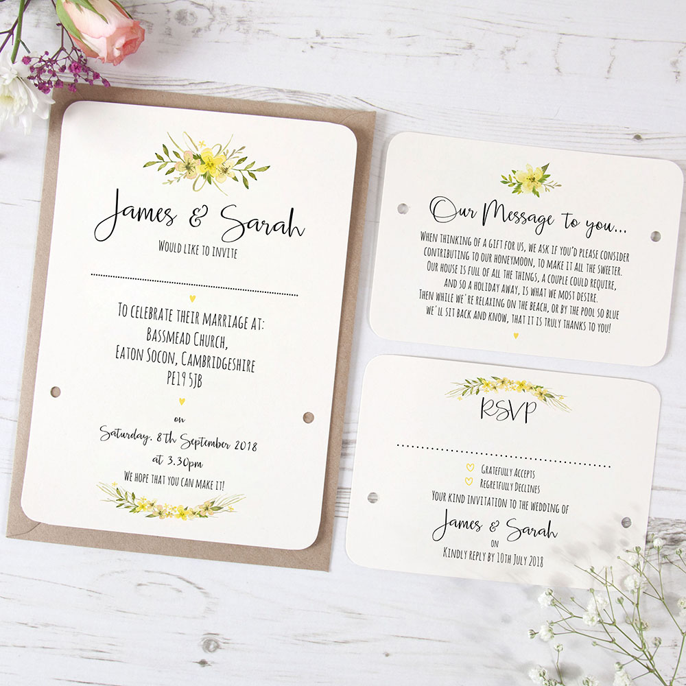 'Yellow Multi Floral Watercolour' Hole-punched Invite