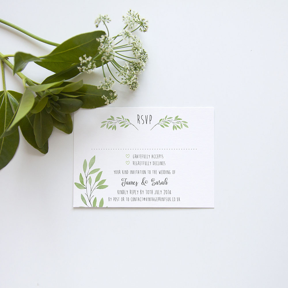 'Autumn Green' Standard Wedding Invitation Sample