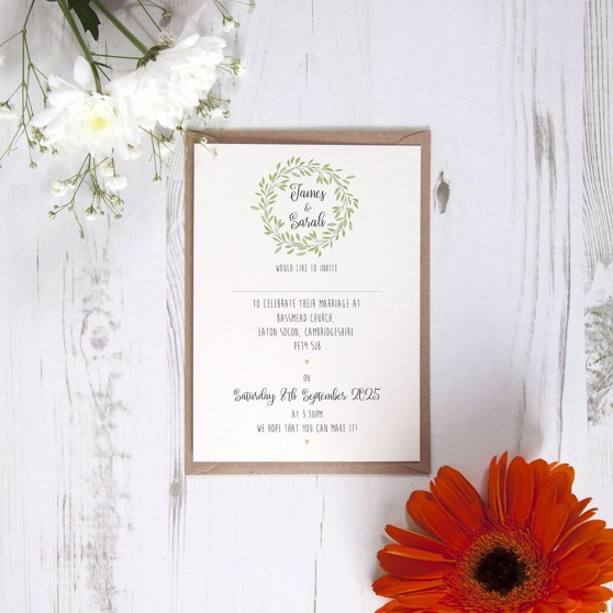 'Autumn Green' Standard Wedding Invitation Sample