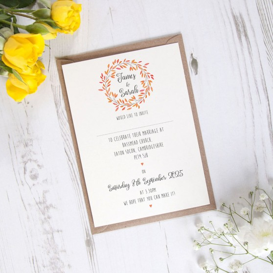 'Autumn Orange' Standard Wedding Invitation