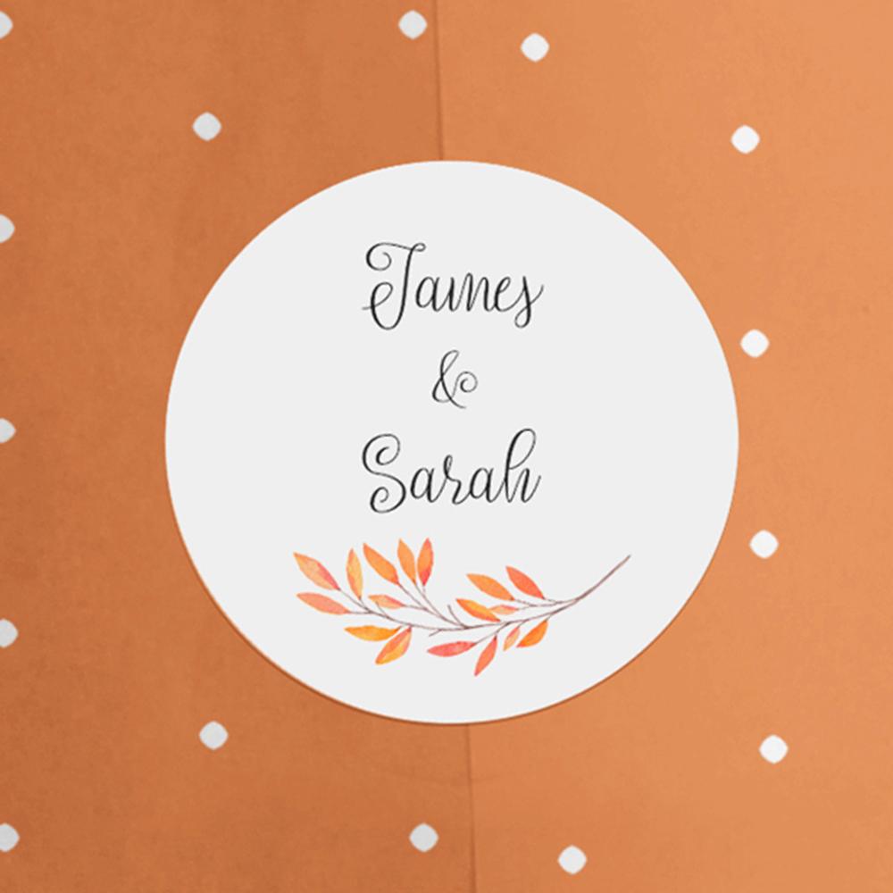 'Autumn Orange' Standard Wedding Invitation Sample