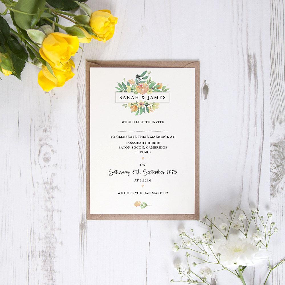 'Bella' Standard Wedding Invitation Sample