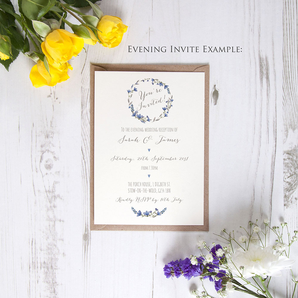 'Blue Floral Watercolour' Hole-punched Invite