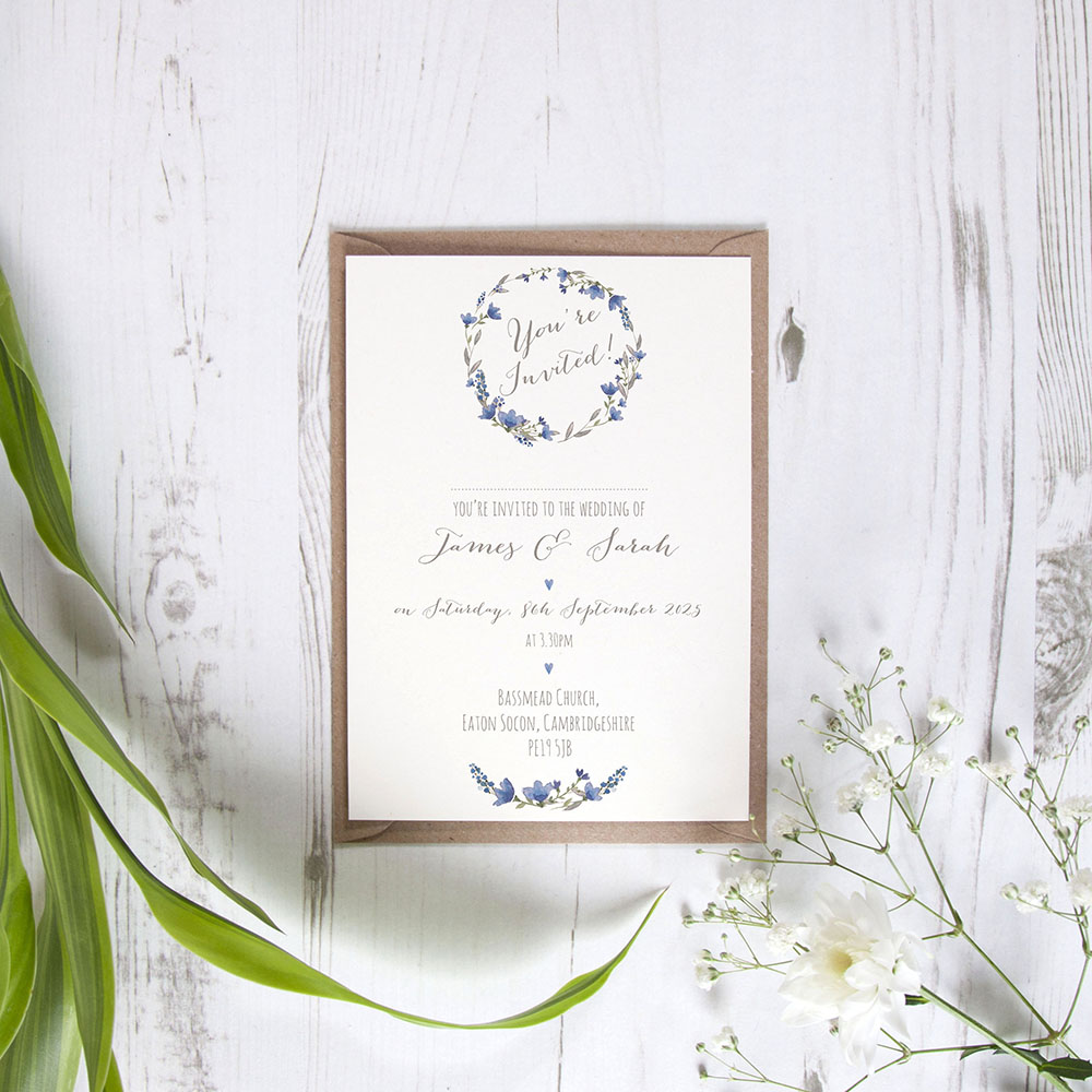 'Blue Floral Watercolour' Standard Invite Only