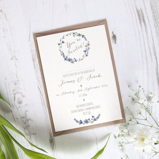 'Blue Floral Watercolour' Standard Wedding Invitation