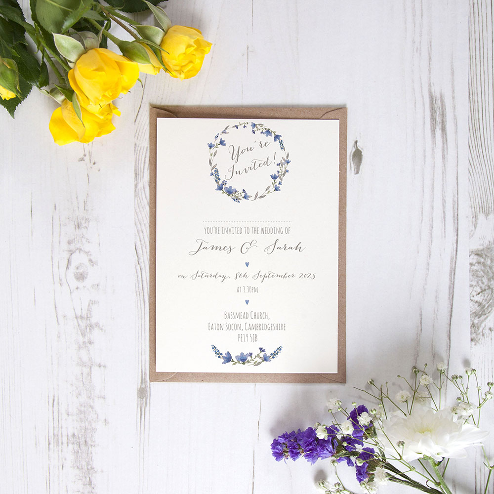 'Blue Floral Watercolour' Standard Invite Only Sample