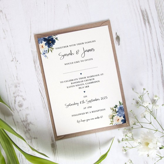'Blue Velvet' Standard Wedding Invitation