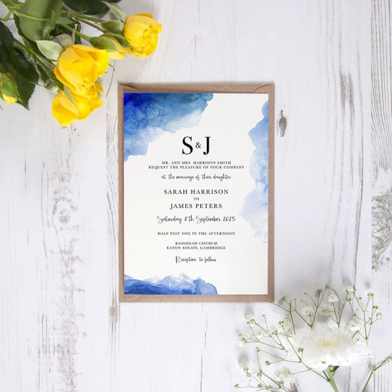 'Blue Watercolour Splash' Standard Invite Sample
