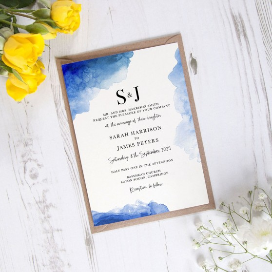 'Blue Watercolour Splash' Standard Invite Only
