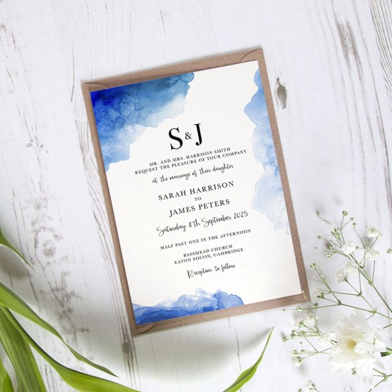 'Blue Splash Watercolour' Standard Wedding Invitation
