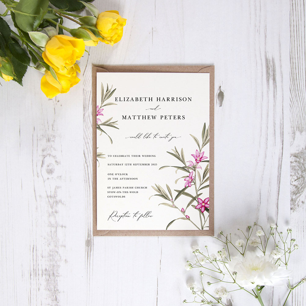 'Pink Botanical' Standard Wedding Invitation Sample