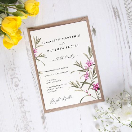 'Pink Botanical' Standard Wedding Invitation