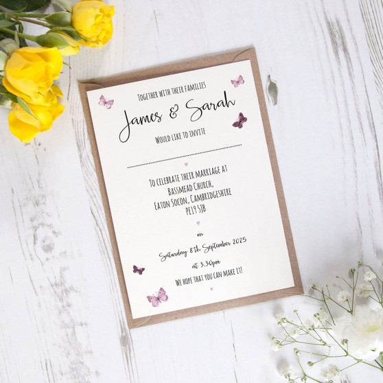 'Butterfly' Standard Wedding Invitation