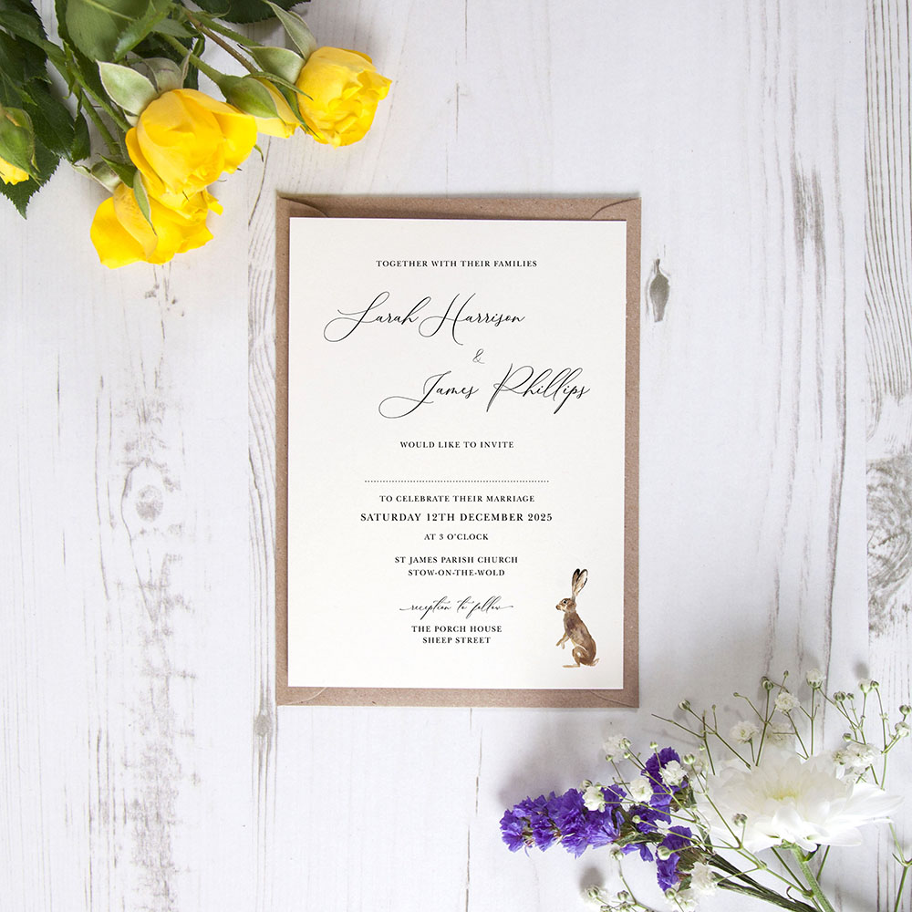 'Christmas Hare' Standard Wedding Invitation Sample