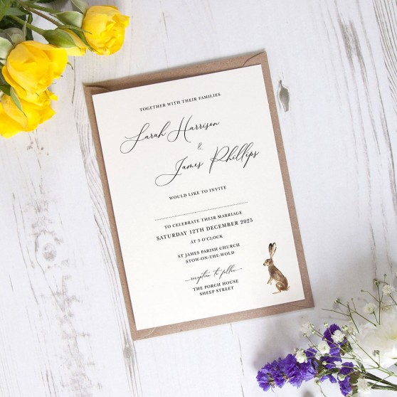 'Christmas Hare' Standard Wedding Invitation
