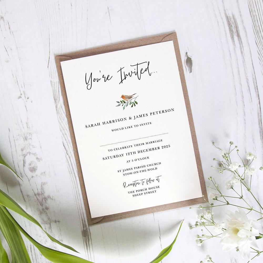 'Christmas Robin' Standard Wedding Invitation Sample