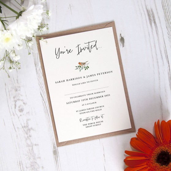 'Christmas Robin' Standard Wedding Invitation